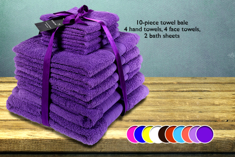 £8.99 instead of £26 for a 4-piece Egyptian cotton towel set, £19.95 for a 10-piece set from Wowcher Direct - save up to 65%