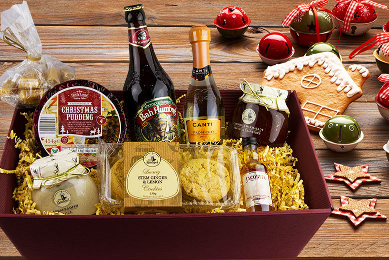 £29 instead of £79 for a luxury festive Christmas hamper containing Prosecco, whisky, ale, Christmas pudding and more from Nostalgic Campers - save a sensational 63%