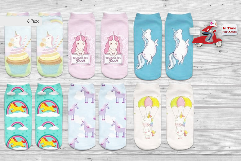 £6.99 instead of £32 (from Doohickey-Hut) for a six-pack of unicorn socks in six different designs, £12.99 for 12 pairs - save up to 80%
