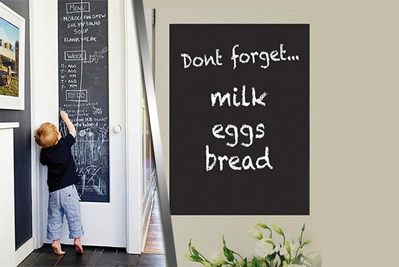 £6.99 (from Rock-a-by Baby) for a 2-metre chalkboard vinyl sticker perfect for kitchens and kids' bedrooms
