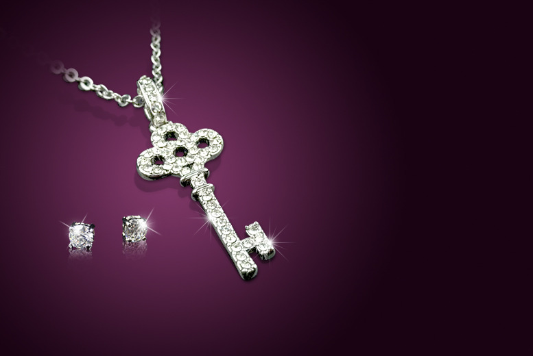 £8 instead of £39 (from Aspire) for a platinum-plated key pendant made with Swarovski Elements, £12 with white gold-plated earrings - save up to 79%