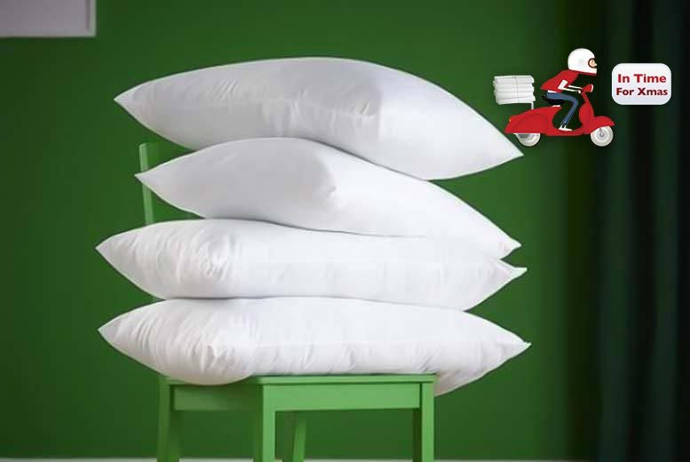 £8.99 instead of £39.99 (from Home Furnishings Company) for four polycotton hollowfibre ultra-bounce back pillows - save 78%