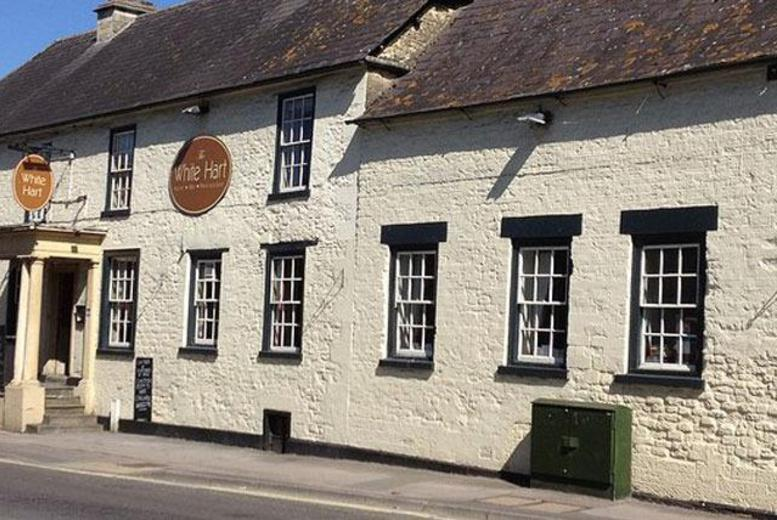 £69 (at The White Hart, Calne) for a 1-night break for 2 with breakfast, a 2-course dinner and a bottle of wine, £99 for 2 nights - save up to 49%