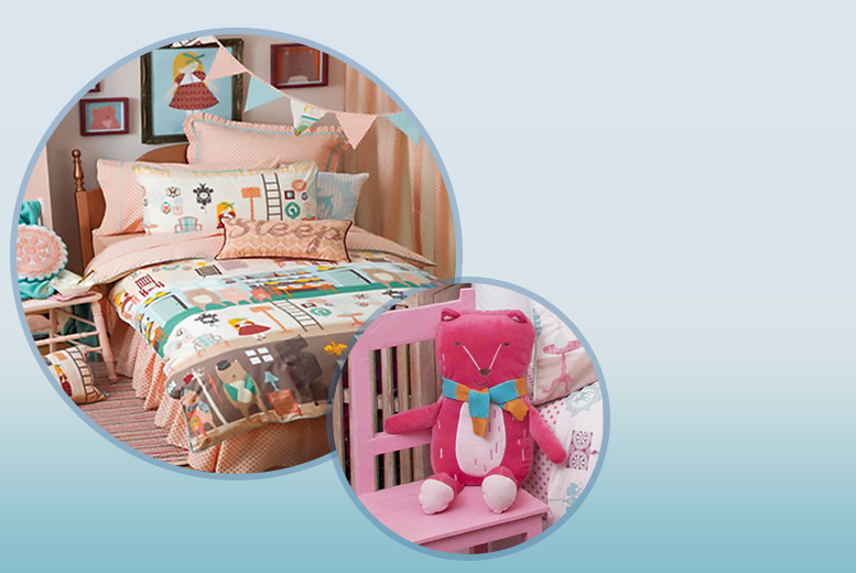£17 (from Children's Rooms) for a single Goldilocks bed set, £22 for a double, from £25 for a single set & bear cushion