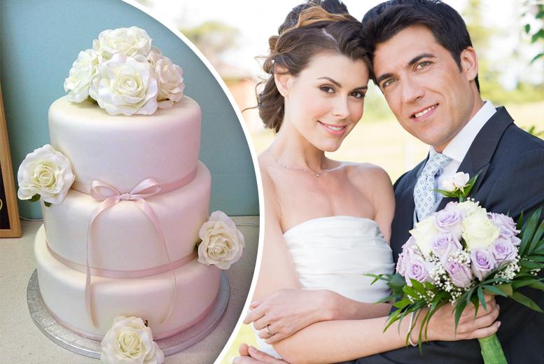 £145 for a luxury 3-tier bespoke sponge wedding cake, or £190 for a 3-tier bespoke fruit wedding cake from Hayley-Jane's Cakes.