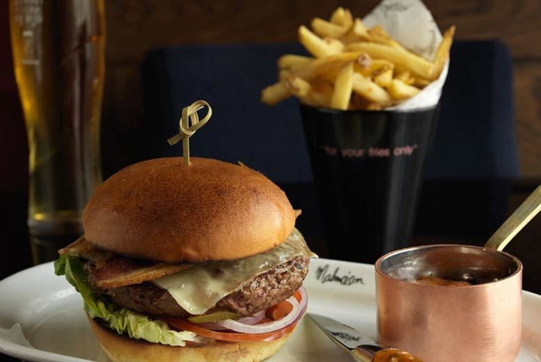 £19.95 instead of up to £38 for a burger meal for two people with fries to share and beer or wine at Malmaison - choose from 11 locations and save up to 48%