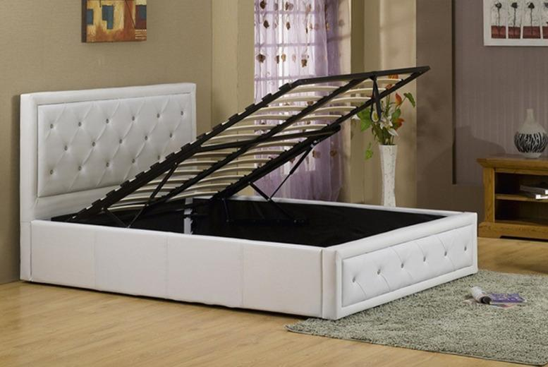 £149 (from FTA Furnishing) for a single faux leather Ottoman diamante storage bed, £169 for a double, £195 for a king size - save up to 69%