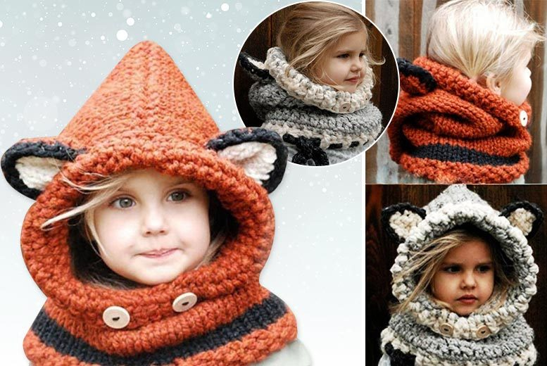 £9 instead of £39.99 (from EFMall) for a kids' hooded scarf - choose from orange and grey and save 77%