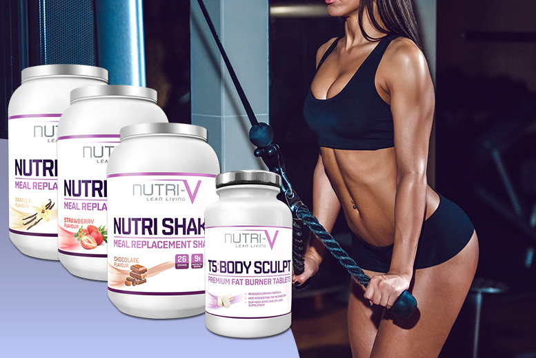 £17 (from Nutri-V) for 900g Nutri-V meal replacement shake powder and 60 T5 'fat burner' tablets - choose from vanilla, chocolate and strawberry flavours - save 83%