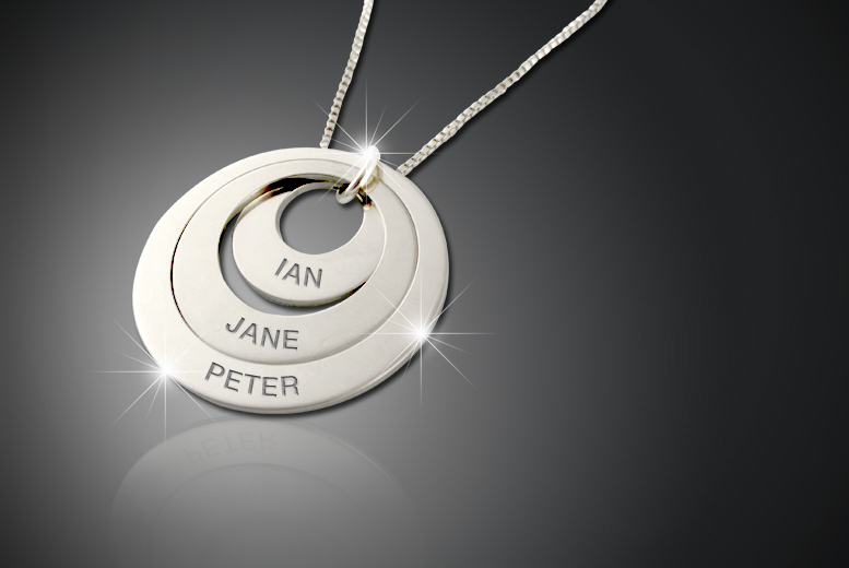 £12 instead of £50 (from Cian Jewels) for a personalised triple ring necklace - inscribe three names and save 76%