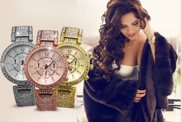 £14.99 instead of £69.99 (from Marcus Emporium) for a ladies' Rivera watch made with Swarovski Elements - pick from 3 colours and save 79%