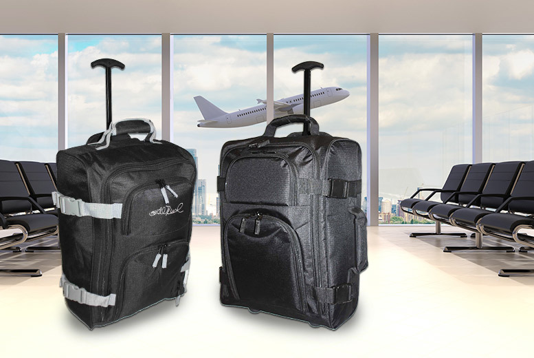 Trendy Look Lightweight Wheeled Cabin Suitcase (Black and Grey)