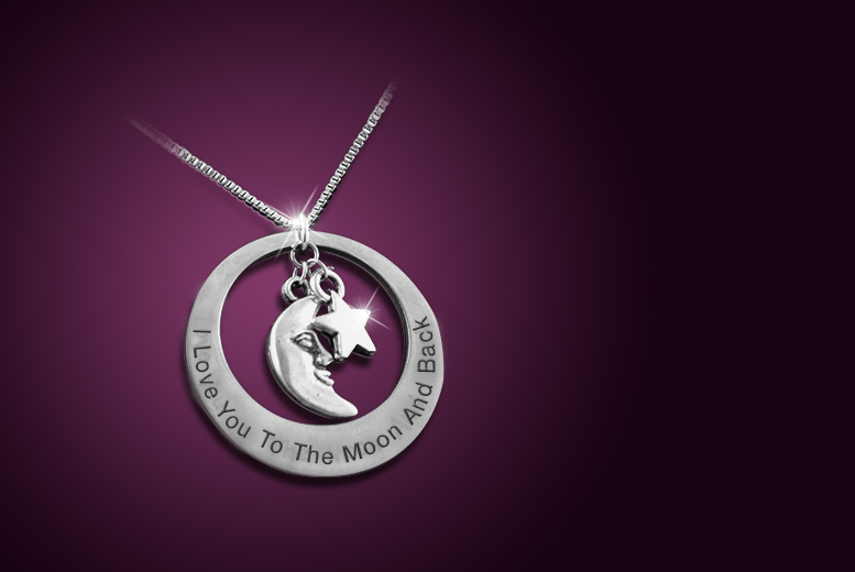 £8 instead of £50 (from Cian Jewels) for a stainless steel 'Moon and Back' necklace, or £10 with a personal engraving - save up to 84%