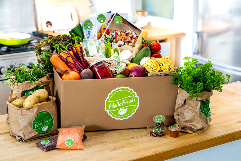 From £12 (from Hello Fresh) for a box of home-delivered recipes inc. fresh ingredients for two people, £26 for a 'family' box for four people - save up to 67%