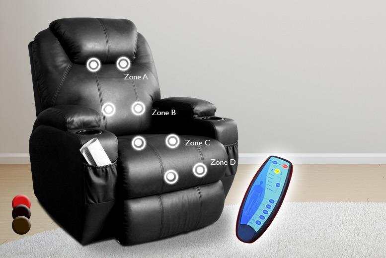 £189.99 instead of £419.99 (from Tiny Home Store) for a luxury leather reclining massage chair with 2 cup holders - save 55%