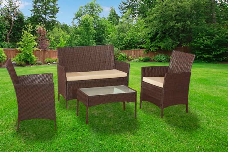 Alexander Morgan 4 Piece Rattan Garden Sofa Set (Brown)