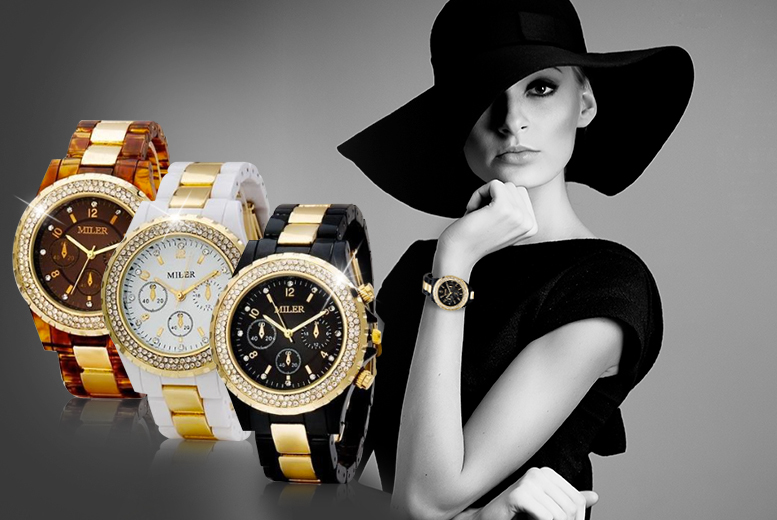 £12 instead of £49 (from Elle and Be) for a designer-inspired crystal watch - pick from three colours & save 76%