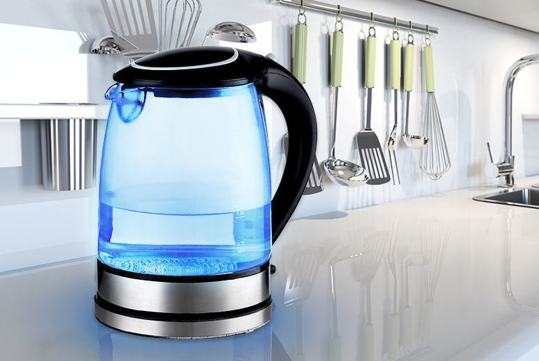 Sashtime 2L 2200W Cordless Electric Glass Kettle with LED light (Black or White)