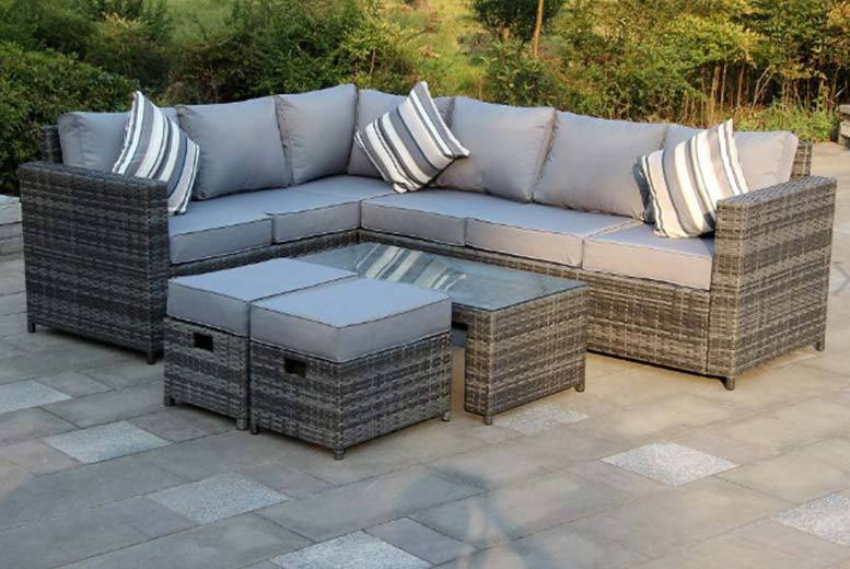 £399 (from Dreams Outdoors) for an eight-seater Yakoe Monaco rattan corner sofa set, with a limited number available for just £349 - choose grey or brown save 64%
