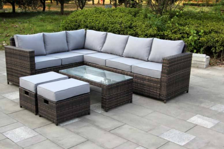 Garden Furniture 8 Seater 8 seater rattan corner sofa set 2 colours shop dreams living 8 seater rattan corner sofa workwithnaturefo