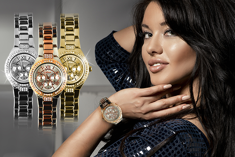 £12 instead of £44.99 (from Marcus Emporium) for a luxury Geneva watch made with Swarovski Elements - choose from five designs & save 73%