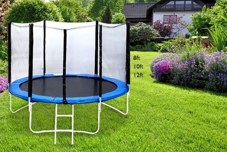 £99 for an 8ft trampoline inc. enclosure and ladder, £124 for 10ft or £149 for 12ft from Wowcher Direct - save up to 60%