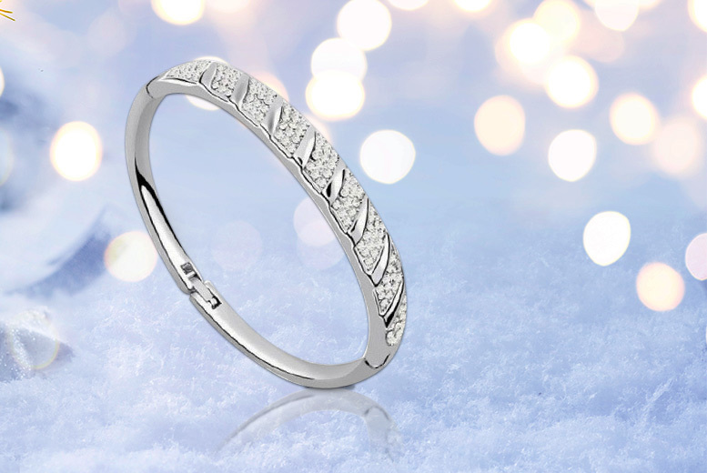 Your Ideal Gift Swarovski Element Rhinestone Encrusted White Gold Plated Bangle