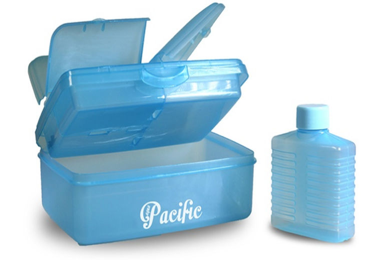 four compartment lunch box and bottles