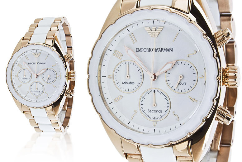 Emporio Armani AR5942 White Ceramic & Rose Gold Stainless Steel Chronograph Womens Watch