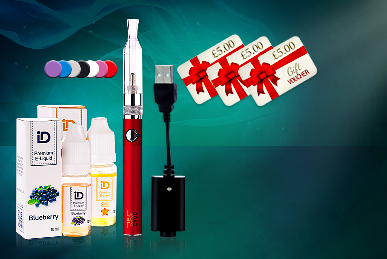 £12 (from E-Cignature) for a 5pc e-cigarette starter pack inc. a EVO D Electronic Cigarette, USB charging cable & 2 e-liquids (= c. 400 cigarettes) - save 67%
