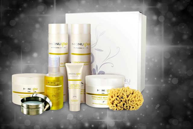 £29.99 instead of £75 (from Monu) for a spa gift box inc. scrub, oil, hand cream, body wash, tan, mitt, body cream & sponge - save 60% + FREE DELIVERY