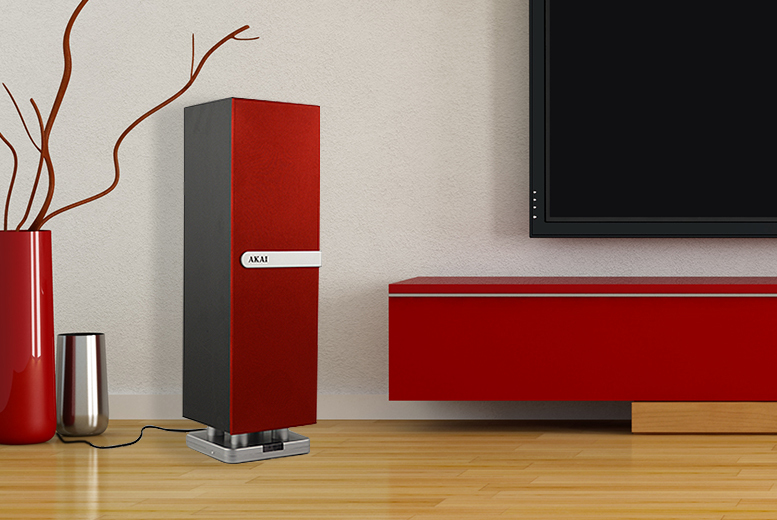 £26.99 instead of £49.99 (from AMS Global) for a red or black Akai mini Bluetooth tower speaker - save 46%