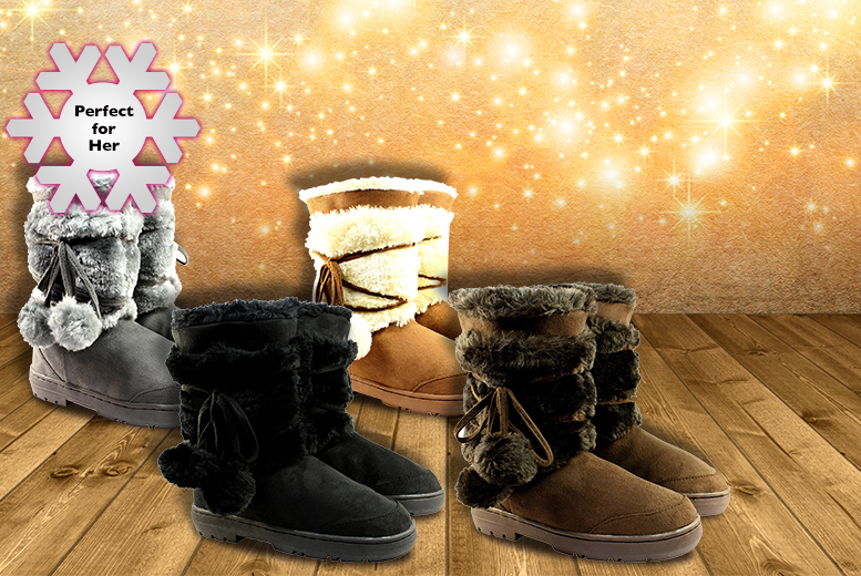 £16.99 instead of £32.51 (from Shubox) for a pair of faux fur-lined Pom Pom snow boots - save 48%