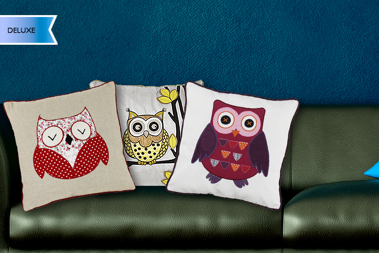 £7.99 (from Groundlevel.co.uk) for a standard owl cushion, £12.99 for deluxe, £12.99 for 2 standard, £22.99 for 2 deluxe - save up to 60%