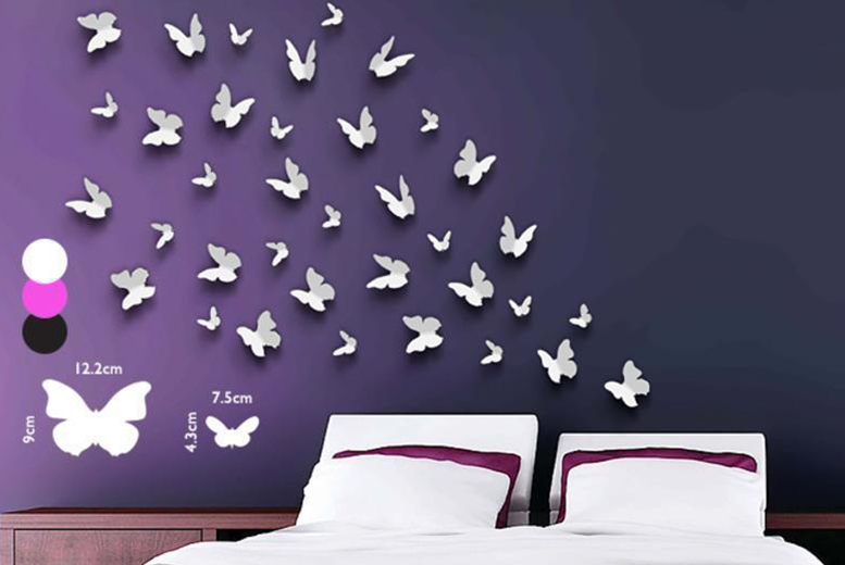 £7.99 instead of £27.40 for a set of 36 butterfly wall stickers from Wowcher Direct - save 71%
