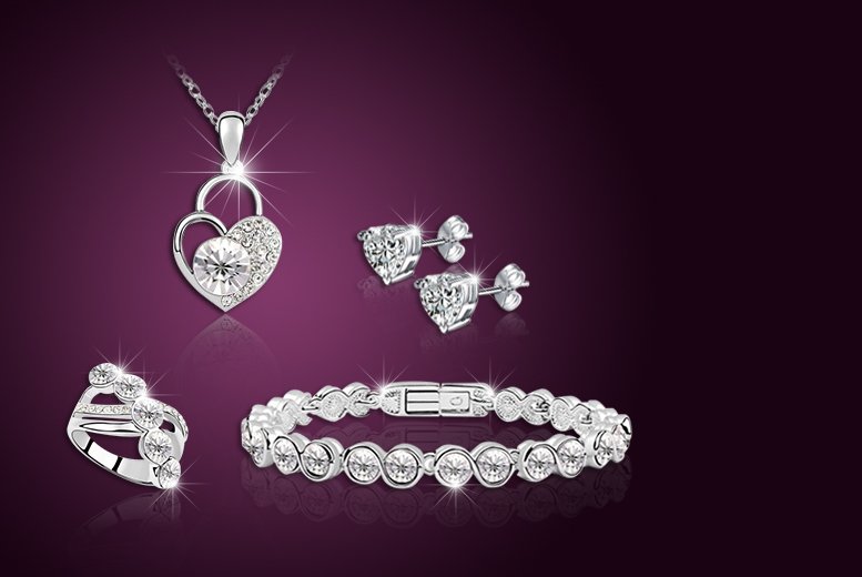 £19 instead of £139 (from Evoked Design) for a quad set made with Swarovski Elements inc. necklace, earrings, ring and tennis bracelet - save 86%