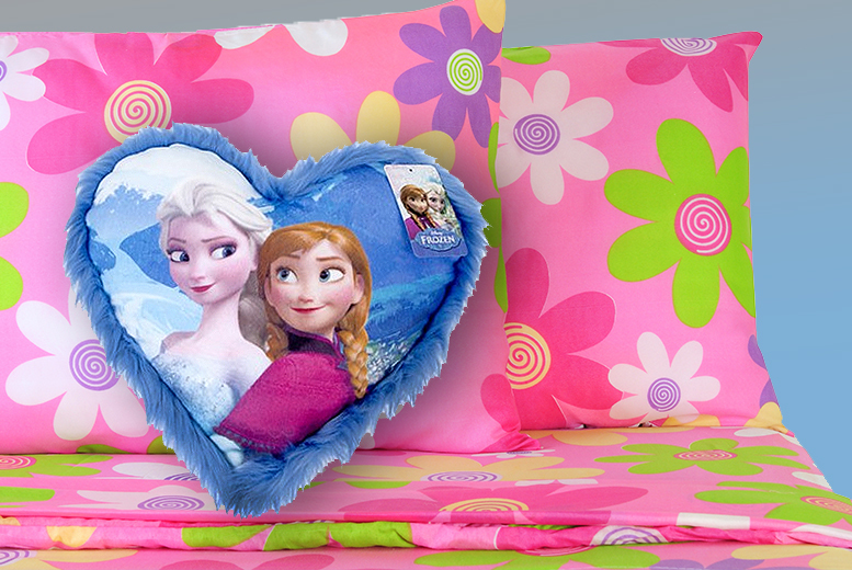 £10 instead of £19.99 (from Groundlevel) for a Frozen Anna and Elsa heart cushion with fluffy trim - save 50%