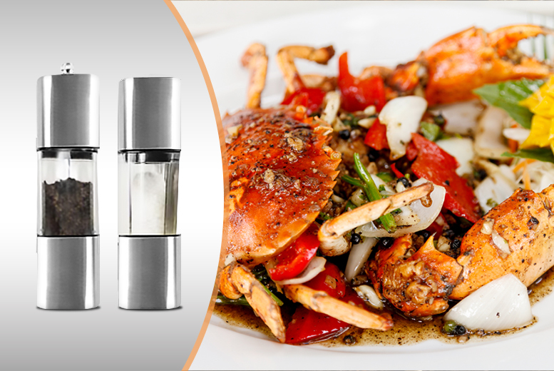 £9.99 instead of £39.99 (from Groundlevel.co.uk) for a pair of stainless steel salt and pepper mills - save 75%