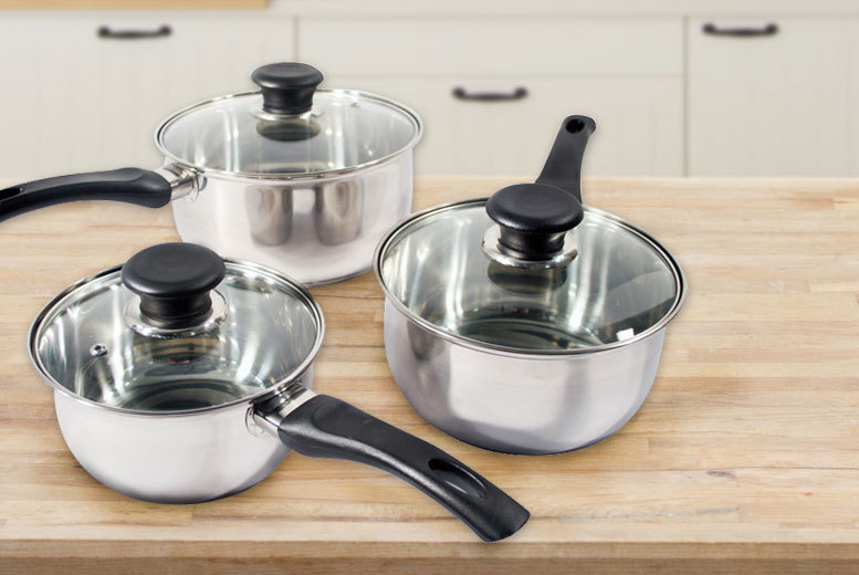 3-Piece Stainless Steel Saucepan Set