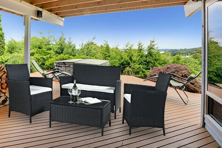 4-Piece Rattan Furniture Set (Black or Brown)