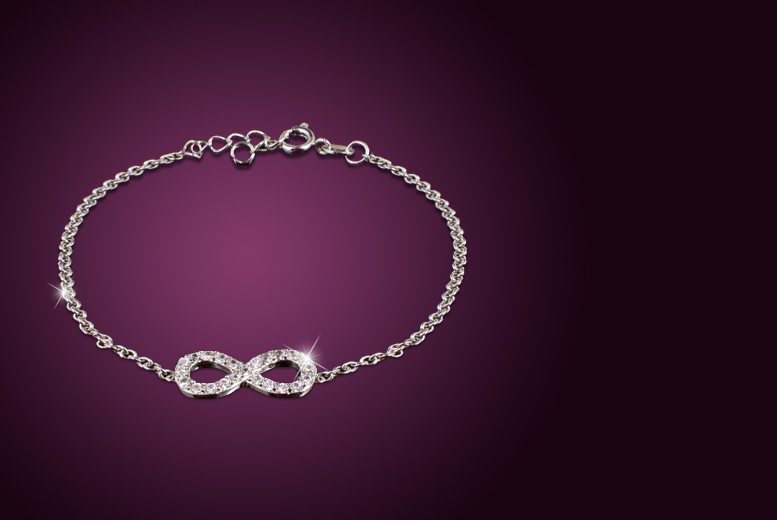 £10 instead of £75 (from Jewel Unique) for an 18ct white gold-plated infinity bracelet made with Swarovski Elements - save 87%
