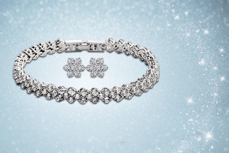 Fakurma Tennis Bracelet & Flower Earrings Duo Set