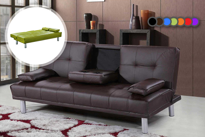 £129 instead of £499 (from Sale Beds) for a Manhattan cinema sofa bed with cup holders - choose from seven colours and save 74%