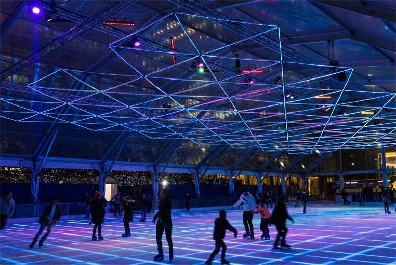 £22 instead of £31.50 for an off-peak LUMINOCITY @ Ice Rink Canary Wharf ticket for two people including skate hire, £25.50 for peak times - save up to 30%