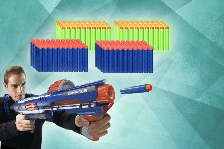 £4.99 instead of £12 (from A2B Shopping) for a refill pack of 100 Nerf-compatible gun bullets - choose blue or white glow in the dark and save 67%