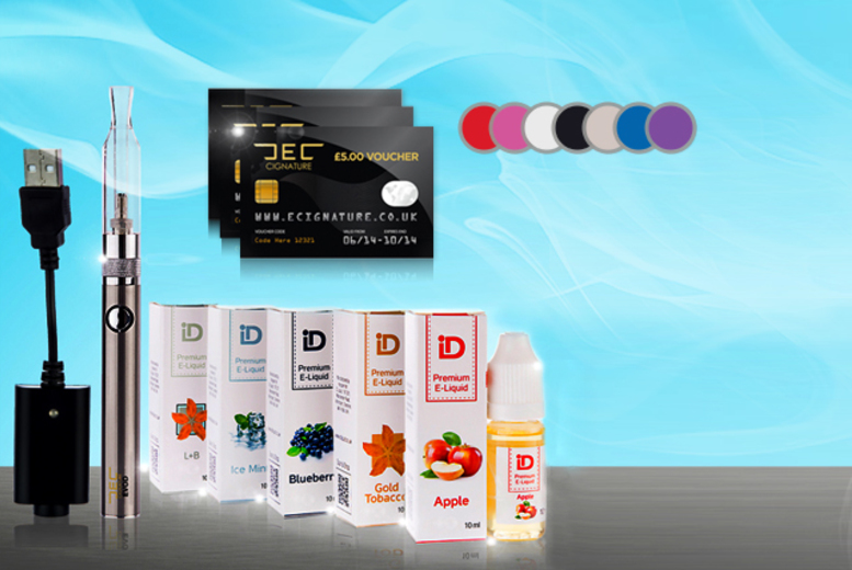 £19.99 instead of £51.94 (from E-Cignature) for an 8-piece e-cigarette starter kit inc. three £5 gift vouchers - save 62%