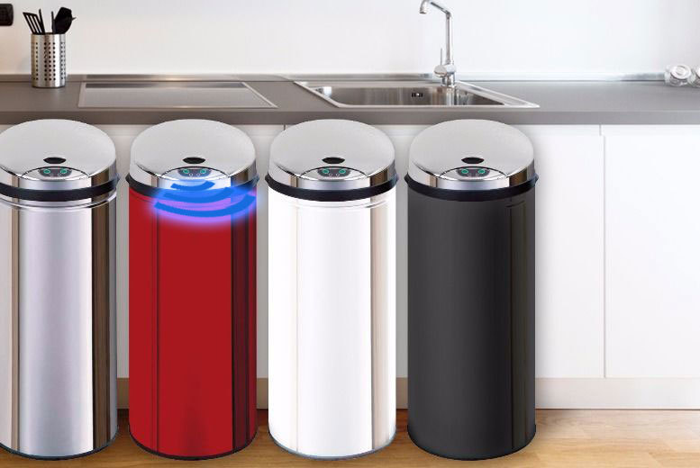 £29.99 instead of £143.01 for a 45l infrared auto-sensor bin storing garbage in chrome effect, red, white & black from Ckent Ltd - save 79%