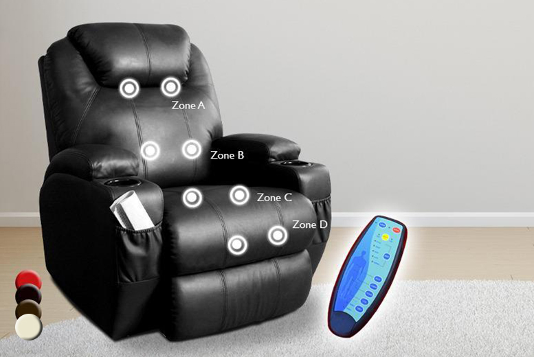 £189.99 instead of £405 (from Tiny Home Store) for a luxury leather reclining massage chair with 2 cup holders - save 53%
