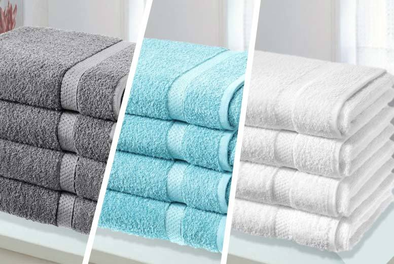 £14.99 instead of £79.99 (from Groundlevel) for four super soft Egyptian cotton bath sheets - choose from eight colours and save 81%