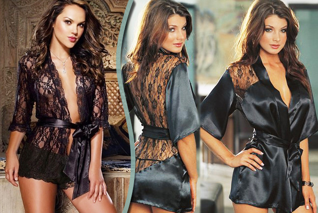 £9.99 instead of £34.99 (from Risqué Intentions) for a black lace robe with French knickers or a black satin robe with T string - save 71%